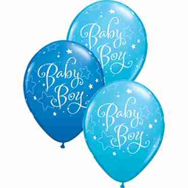 Baby Boy Stars Standard Dark Blue and Fashion Robins Egg Blue Assortment Latex Round 11in/27.5cm