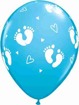 Baby Footprints and Hearts Fashion Robins Egg Blue Latex Round 11in/27.5cm
