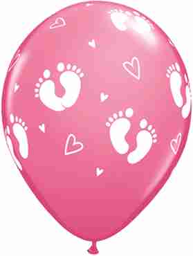 Baby Footprints and Hearts Fashion Rose Latex Round 11in/27.5cm