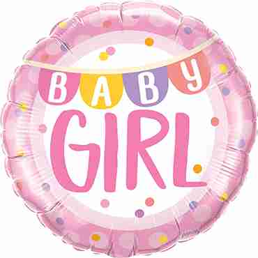 Baby Girl Banner and Dots Foil Round 18in/45cm