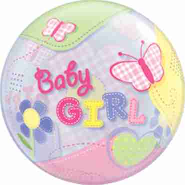 Baby Girl Butterflies Single Bubble 22in/55cm