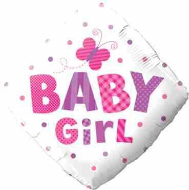 baby girl dots and butterfly foil diamond 18in/45cm