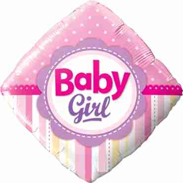 baby girl dots and stripes foil diamond 18in/45cm