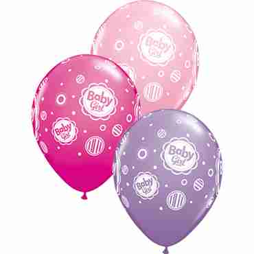 baby girl dots fashion wild berry, fashion spring lilac and standard pink assortment latex round 11in/27.5cm