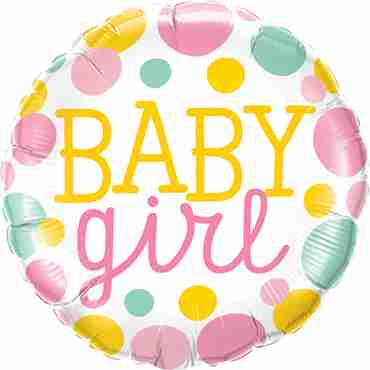 baby girl dots foil round 18in/45cm