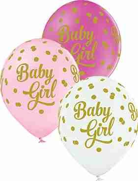 Baby Girl Dots Pastel White, Pastel Pink and Pastel Rose Assortment Latex Round 12in/30cm
