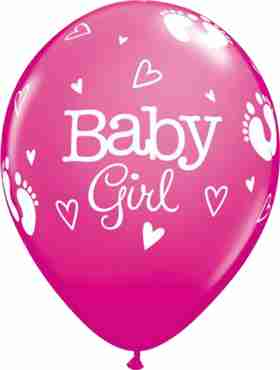 Baby Girl Footprints and Hearts Fashion Wild Berry Latex Round 11in/27.5cm