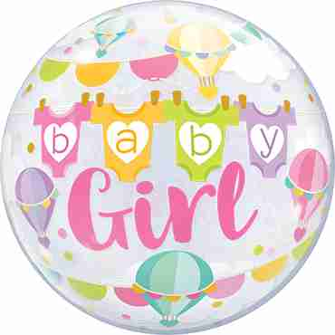 Baby Girl Hot Air Balloons Single Bubble 22in/55cm
