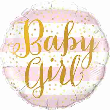 Baby Girl Pink Stripes Foil Round 18in/45cm