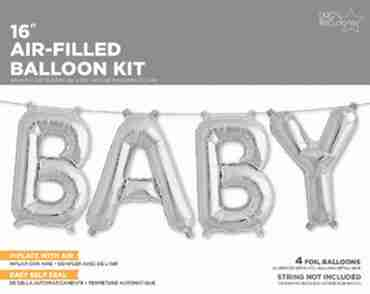 Baby Kit Silver Foil Letters 16in/40cm