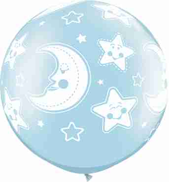 Baby Moon and Stars Pearl Light Blue Latex Round 30in/75cm