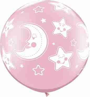 Baby Moon and Stars Pearl Pink Latex Round 30in/75cm
