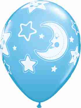 Baby Moon and Stars Standard Pale Blue Latex Round 11in/27.5cm