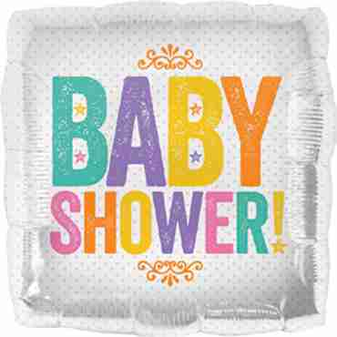 baby shower block letters foil square 18in/45cm