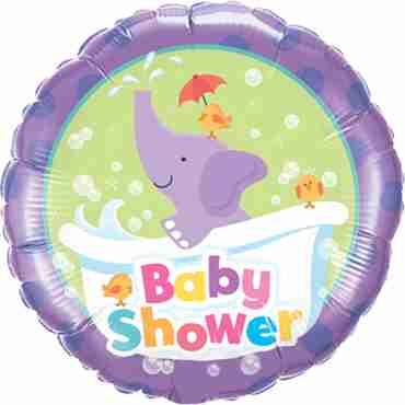 baby shower elephant foil round 18in/45cm