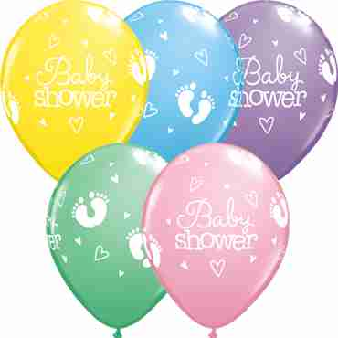 Baby Shower Footprints and Hearts Pastel Assortment Latex Round 11in/27.5cm