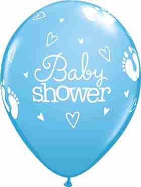 Baby Shower Footprints and Hearts Standard Pale Blue Latex Round 11in/27.5cm