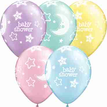 baby shower moon and stars pastel pearl assortment latex round 11in/27.5cm