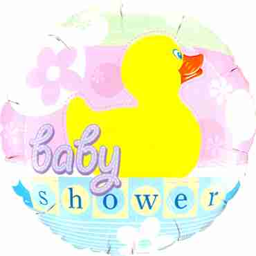 Baby Shower Rubber Duckie Foil Round 18in/45cm