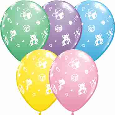 Babys Nursery Pastel Assortment Latex Round 11in/27.5cm