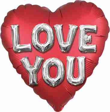 Balloon Letters Satin Love You Foil Heart 28in/71cm