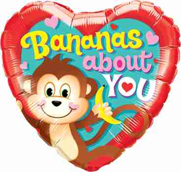 Bananas About You Foil Heart 18in/45cm