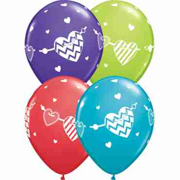 Banner Hearts Standard Red, Fashion Purple Violet, Fashion Tropical Teal and Fashion Lime Green Assortment Latex Round 11in/27.5cm
