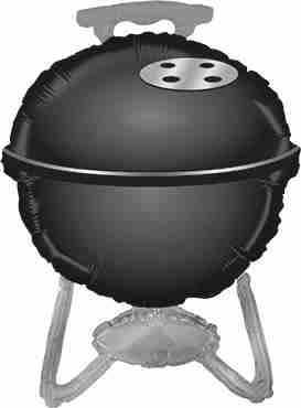 BBQ Grill Black Foil Shape 32in/81cm