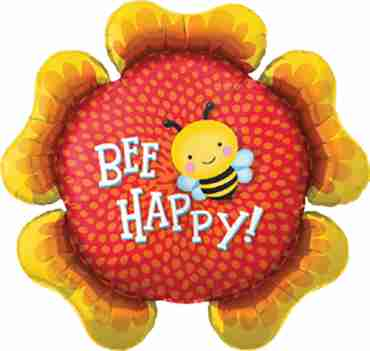 bee happy flower foil shape 34in/86cm