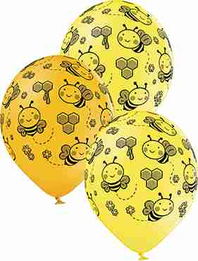 Bees Pastel Yellow and Pastel Ocher Assortment Latex Round 12in/30cm