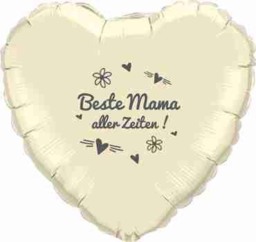 beste mama aller zeiten! ivory w/grey ink foil heart 18in/45cm