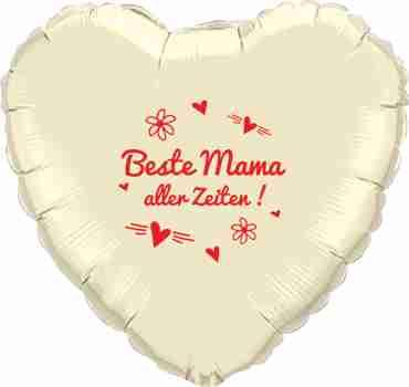 beste mama aller zeiten! metallic pearl ivory w/red ink foil heart 18in/45cm