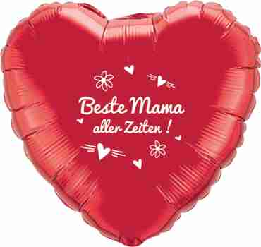 beste mama aller zeiten! metallic red w/white ink foil heart 18in/45cm