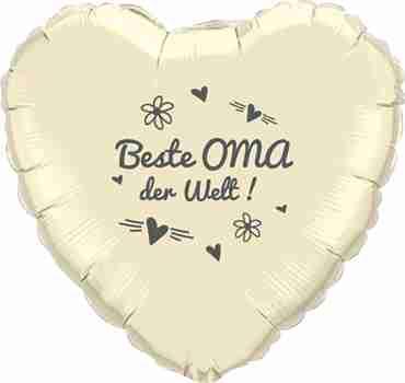beste oma der welt! ivory w/grey ink foil heart 18in/45cm