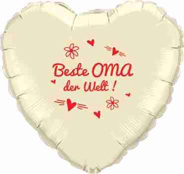 beste oma der welt! ivory w/red ink foil heart 18in/45cm