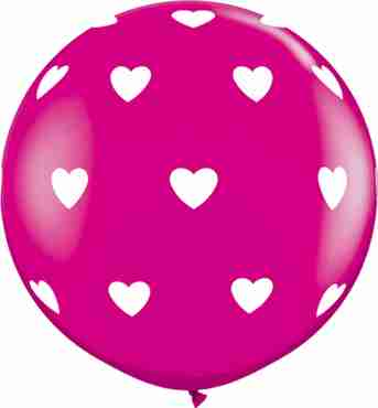 Big Hearts Fashion Wild Berry Latex Round 36in/90cm