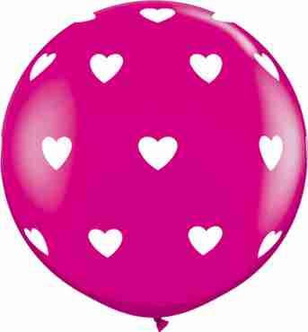 Big Hearts Fashion Wild Berry Latex Round 36in/90cm