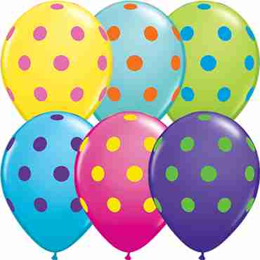 Big Polka Dots Colourful Assortment Standard Yellow, Fashion Robins Egg Blue, Fashion Purple Violet, Fashion Wild Berry, Fashion Caribbean Blue and Fashion Lime Green Assortment Latex Round 11in/27.5cm