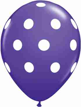 Big Polka Dots Fashion Purple Violet Latex Round 11in/27.5cm