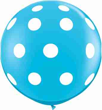 Big Polka Dots Fashion Robins Egg Blue Latex Round 36in/90cm