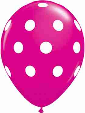 Big Polka Dots Fashion Wild Berry Latex Round 11in/27.5cm