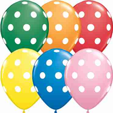 Big Polka Dots Standard Assortment Latex Round 11in/27.5cm