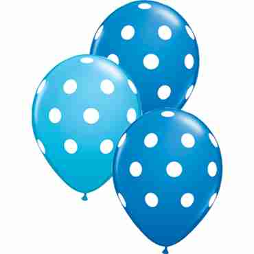 Big Polka Dots Standard Dark Blue and Fashion Robins Egg Blue Assortment Latex Round 11in/27.5cm