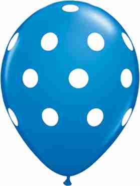 Big Polka Dots Standard Dark Blue Latex Round 11in/27.5cm