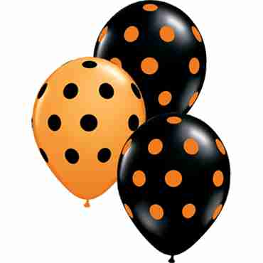 Big Polka Dots Standard Orange and Fashion Onyx Black Assortment Latex Round 11in/27.5cm