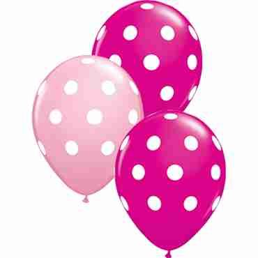 Big Polka Dots Standard Pink and Fashion Wild Berry Assortment Latex Round 11in/27.5cm