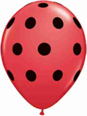 big polka dots standard red latex round 5in/12.5cm
