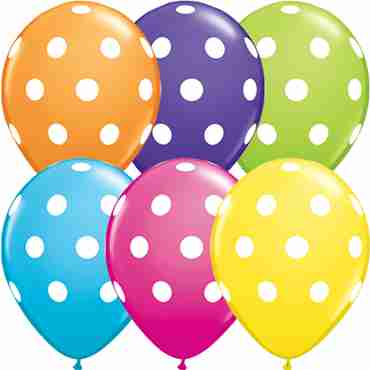 Big Polka Dots Tropical Assortment Latex Round 11in/27.5cm