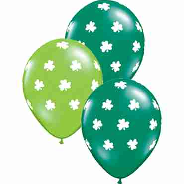 Big Shamrocks Crystal Jewel Lime (Transparent) and Crystal Emerald Green (Transparent) Assortment Latex Round 11in/27.5cm
