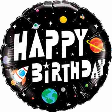 Birthday Astronaut Foil Round 18in/45cm